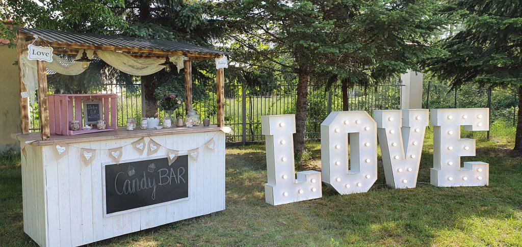 Candybar Set mit LOVE LED Buchstaben